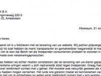 De brief van Ruud Martens, Independer, aan Betch BV te Amsterdam.